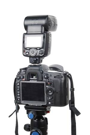 DSLR digital camera on tripod photo