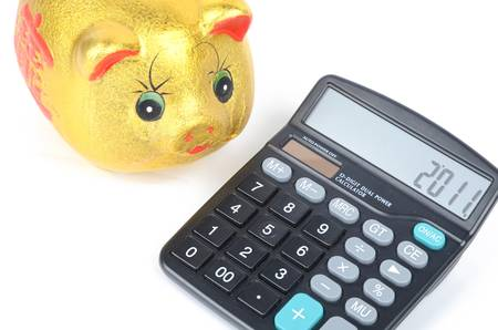 Piggy bank and calculator Stock Photo - 12873979