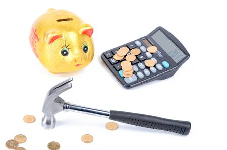 Piggy bank and calculator photo