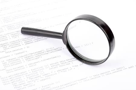 Xml code and magnifier photo