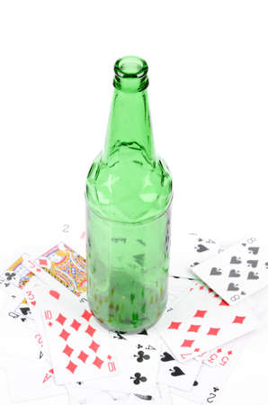 Wine bottle and poker