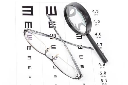 protecting spectacles: Eye chart Stock Photo