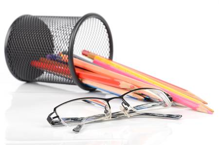 Color pencils and glasses photo