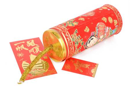 Chinese firecracker and red pocket