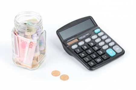 Chinese currency and calculator photo