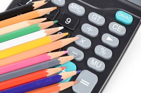 delineate: Calculator and color pencils