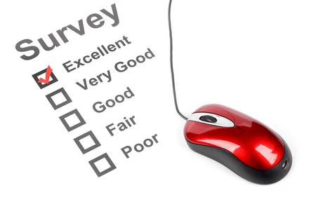 test result: Questionnaire and mouse Stock Photo