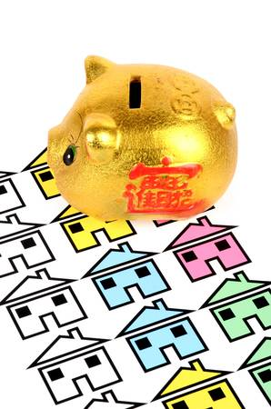 Piggy bank and house Stock Photo - 12974147