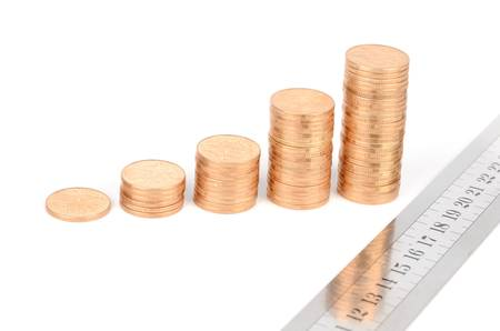 Coins and ruler Stock Photo - 13027080