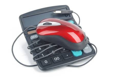 Calculator and computer mouse photo