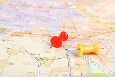 Push pin and map