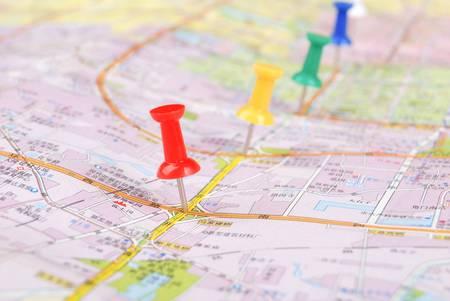 Push pin and map Stock Photo - 13072675