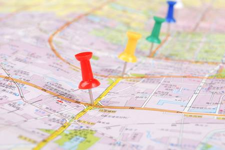Push pin and map Stock Photo - 13072675