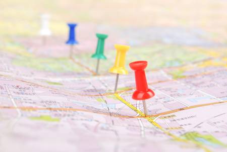 Push pin and map Stock Photo - 13072723