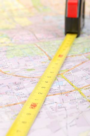 steel tape: Map and steel tape