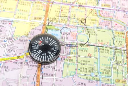 Map and compass Stock Photo - 13072628