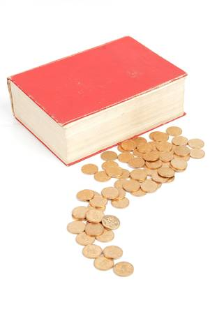 Coins and dictionary photo