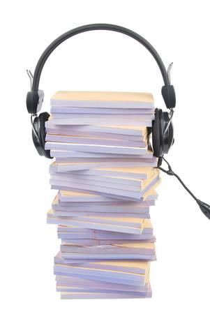 Documents and headphone Stock Photo - 13137953