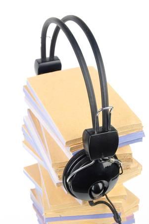 Documents and headphone photo