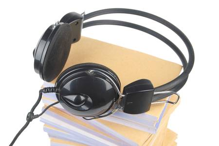 Documents and headphone Stock Photo - 13137948