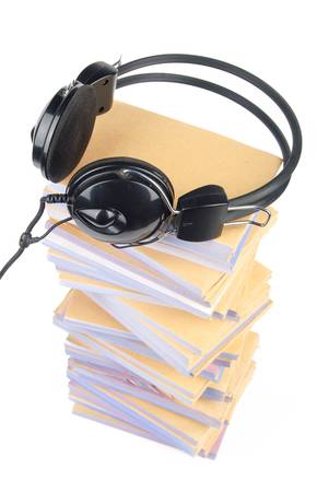 Documents and headphone photo