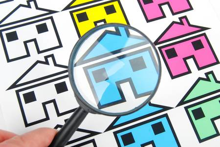 enhance: Magnifier and house Stock Photo