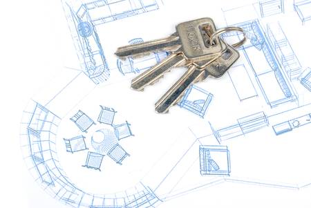 Key and blueprint Stock Photo - 13289853