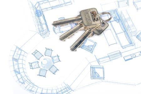 Key and blueprint Stock Photo - 13289853