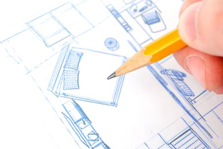 Pencil and blueprint