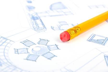Pencil and blueprint Stock Photo - 13266307