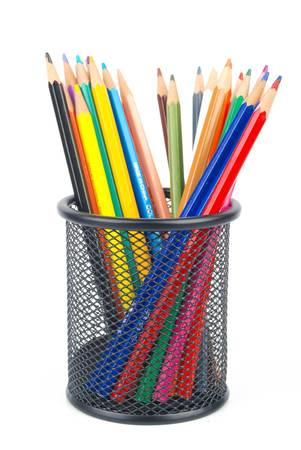 pencil holder: Steel mesh brush pot and pencils Stock Photo