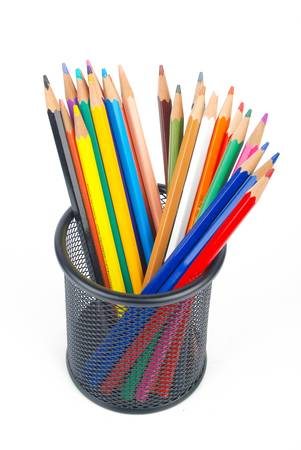 Steel mesh brush pot and pencils photo
