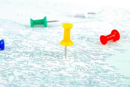 Push pin and map photo