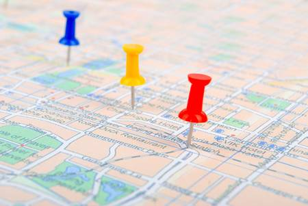 Push pin and map Stock Photo - 13236488
