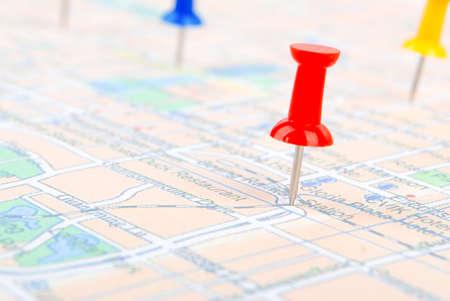 marcador: Empuje el pasador y el mapa