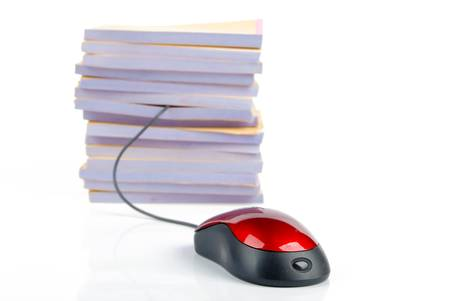 Computer mouse and documents photo