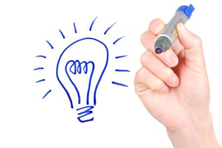 cartoon light bulb: Idea Stock Photo