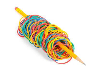 Rubber band and pencil photo