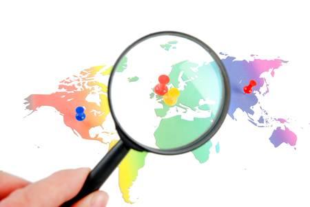 Push pin and world map Stock Photo - 13305466