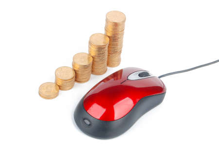 Computer mouse and coins Stock Photo - 13305447