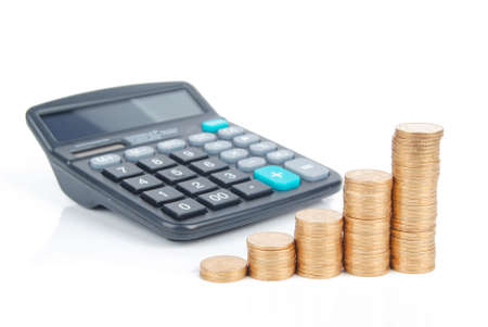 Calculator and coins Stock Photo - 13305319