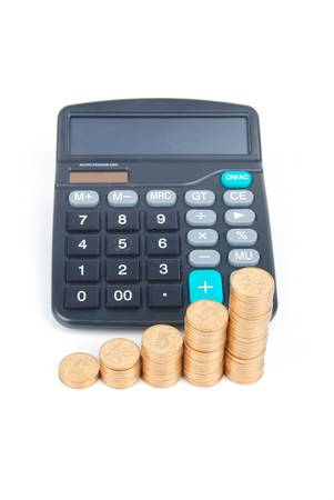 Calculator and coins Stock Photo - 13305341