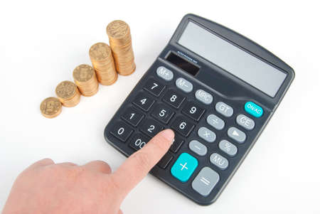 Calculator and coins Stock Photo - 13305172
