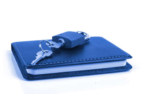 Notepad and padlock Stock Photo - 13340457