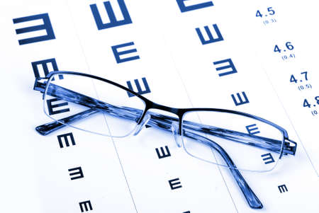 bifocals: Reading glasses and eye chart