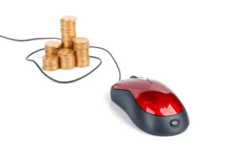 Computer mouse and coin photo