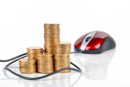 Computer mouse and coin Stock Photo - 13370477