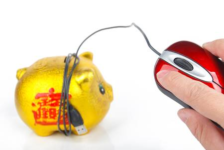 Piggy bank and Computer mouse photo
