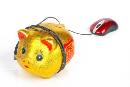Piggy bank and Computer mouse Stock Photo - 13371215