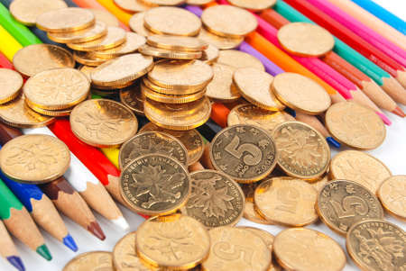 Color pencil and coin photo